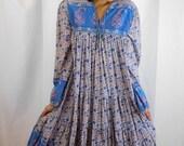 Authentic 70's India Cotton Floral Paisley Print Hippie Dress Festival Dress