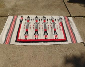 Vintage Woven Wool Rug / Wall Hanging / Tribal, Ethnic, Southwestern Rug Or Wall Hanging