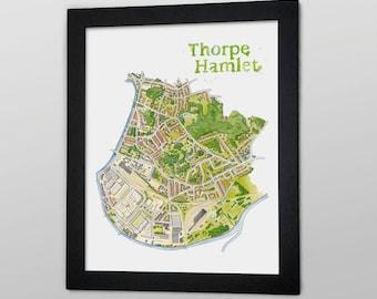 Thorpe Hamlet Illustrated Map - 12 x 16 Giclée print / A3 digital Print
