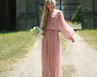 Blush chiffon maxi dress, boho style dress with slip dress, boho wedding dress, vintage inspired, bishop sleeves
