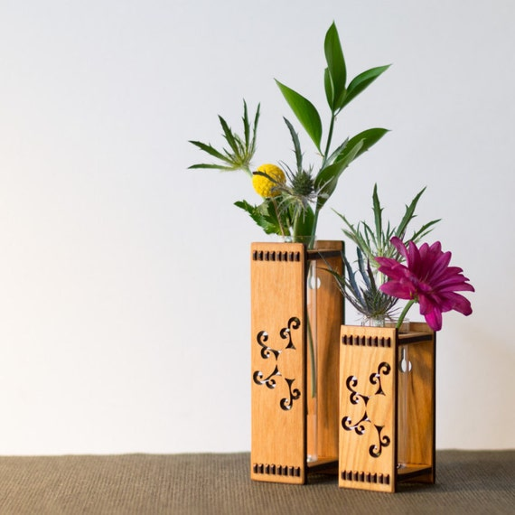 Cherry Wood Bud Vase - Sun Spiral