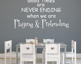 Playing and Pretending Vinyl Wall Decal Playroom Vinyl Lettering Wall Words Vinyl Wall Art Decal girl bedroom decor playroom wall decor