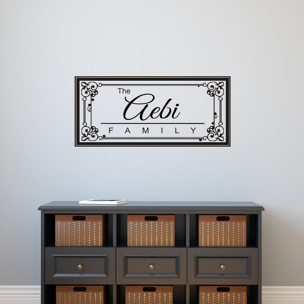 Family Name Monogram Wall Decal Personalized Vinyl Lettering