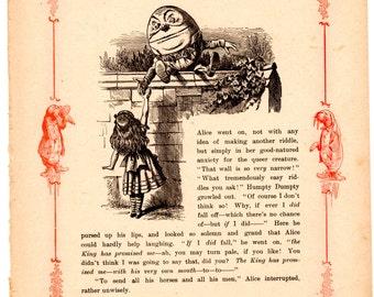 Through The Looking Glass Antique Book Page - Humpty Dumpty -  Vintage Alice in Wonderland decor, nursery art, 8 x 10 artwork print