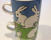 Arabia Finland Bunny Rabbit coffee mug Tea Cup Set