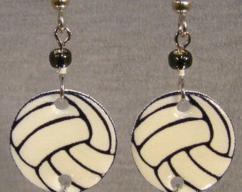 Volleyball Dangle Earrings - surgical steel - sports jewelry