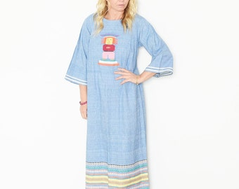 Vintage Embroidered Chambray Caftan , Ethnic Maxi Dress , Hand Loomed Kaftan