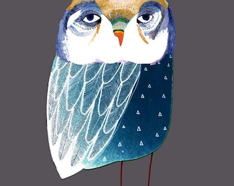 Blue Night Owl. Illustration Art Print, kids art, nursery decor, owl art.