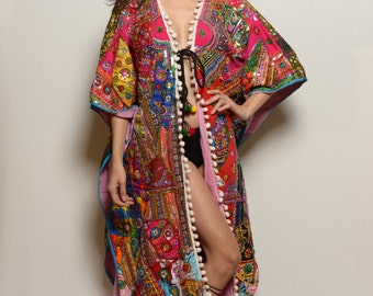 Unisex One of a Kind Hand Embridered Technicolor Dream Coat- Perfect for Burning Man