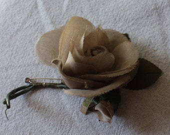 Vintage Millinery Rose Taupe Silk Fabric - Pin Back -OS