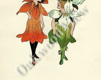 ON SALE Flower Children Trillium & Tiger Lily and Pansy 2-Sided Book Plate Print by Elizabeth Gordon, Vintage 6x9 Frameable Art c1910, FREE