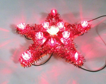 Vintage Tree Topper, Christmas Star, Light Up Tree Ornament, Twinkle Lights, Red Silver, Lighted Star