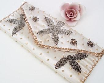 Vintage Satin Bag, Beaded Clutch, Evening Purse, Envelope Clutch, Wedding Handbag