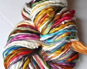 Bulky Yarn Thick n Thin Rainbow, Coral, Yellow,  Handspun, hand painted wool, silk, warm, soft, knitting supplies, crochet supplies Active