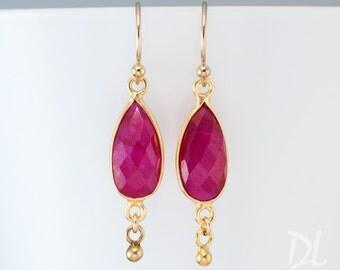 Red Ruby Earrings - July Birthstone Jewelry - Small Dainty Gold Drop Earrings - Gemstone Earrings - Ruby Jewelry - Gift for Her