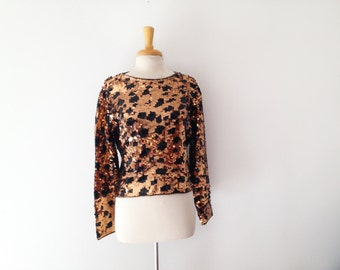 1980s sequin leopard print evening sweater, size medium