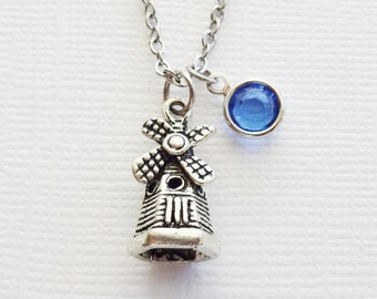 Windmill Initial Necklace Holland Dutch Netherlands Jewelry Smock Mill Water Mill Grain Mill Silver Jewelry Swarovski Channel Birthstone
