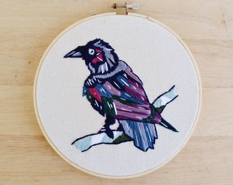 Nevermore Raven Embroidered Wall Hanging Hoop