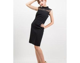 Vintage little black dress / 1960s R and K Orginals rhinestone illusion shift dress / New old stock  S