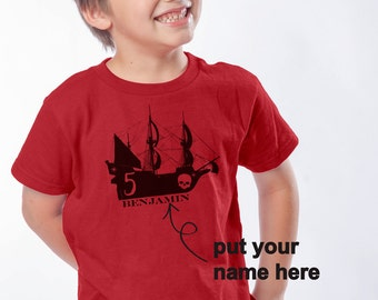 5th Birthday Shirt 0- Pirate Ship T-Shirt for Infants, Kids and Adults - Pirate Themed Birthday - Personalized Vintage Feel Pirate Shirt
