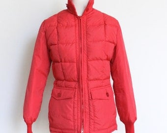 Vintage Eddie Bauer Down Jacket // Ski Jacket Red // Winter Goose Down Coat Small