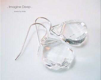 Sterling Silver Clear Crystal Earrings Diamond White Topaz like Swarovski Crystals Briolette Teardrop Pear Dangle Earrings % SPECIAL