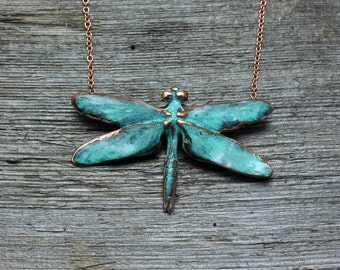 Copper blue green patina Dragonfly pendant on copper chain