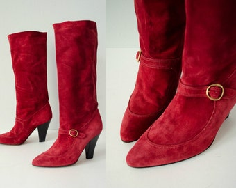 1970s vintage boots / red suede knee high boots / Chloé / size 38