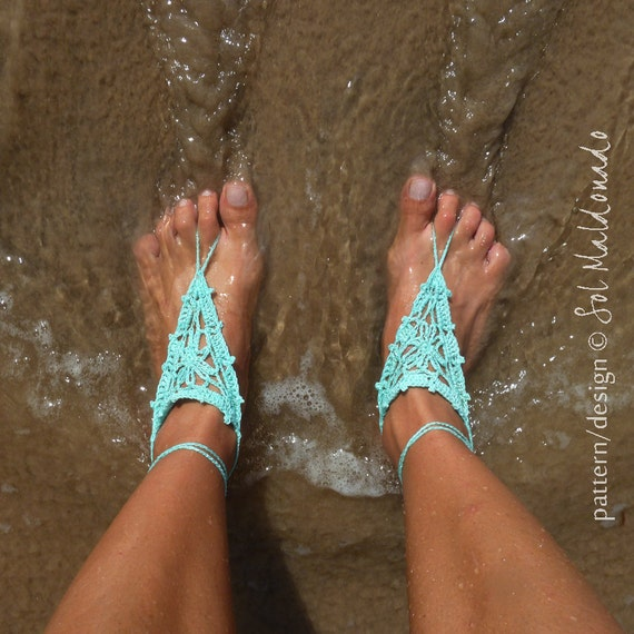 Barefoot Crochet Nude Sandles Pattern PDF - beach sandals summer accessories - Instant DOWNLOAD