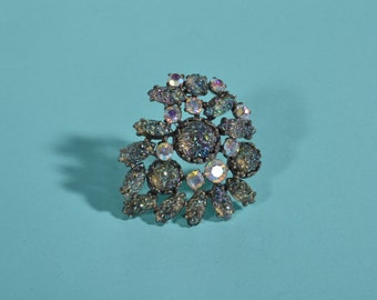 Vintage 1950s Schiaparelli Couture Brooch - Aurora Borealis Pin - Lava Rock Stones