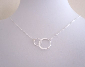 Floating two interlocked Eternity CIRCLES sterling silever necklace, Infinity karma ring necklace