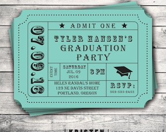 Graduation Party, Invitation, Admission, Movie Ticket, Stub, High School, College, Grade, Graduate,  Digital File Setup for DIY Printing