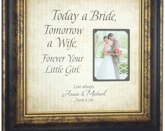 Personalized Wedding Frame Sign with TODAY A BRIDE quote for Mother Father of the Bride Personalized Picture Frame Thank You Gift, 16 X 16