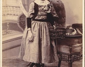 Dainty Darling- 1800s Antique Photograph- Victorian Girl- 19th Century Fashion- Straw Hat- Cedar Falls, Iowa- Cabinet Photo- Paper Ephemera