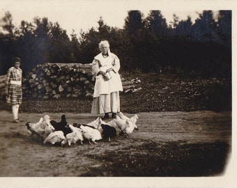 Granny's Chickens- 1920s Antique Photograph- Feeding Chickens- Farm Life- Found Photo- Vernacular Snapshot- Paper Ephemera