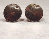 Vintage Cuff Links, Swank Cufflinks, Gold Tone, Rising Sun, Round Cufflink, Radiating Lines, Men Formal, Shirt Jewelry, Mid Century, Hipster