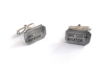 Aviator Cufflinks -- Engraved Cufflinks in Sterling Silver
