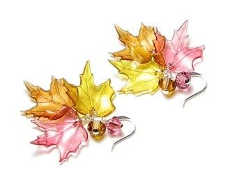 Fall Leaf Swarovski Crystal Silver & Gold Earrings Acrylic Maple Leaves Women's Autumn Jewelry Back to School Teacher Gift Honey Amber Topaz