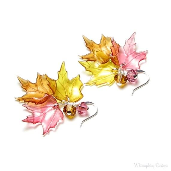 Maple Leaf Earrings Fall Leaf Earrings Women's Swarovski Crystal Jewelry Acrylic Autumn Leaves Honey Amber Topaz Rose Gold Silver Gift Boxed
