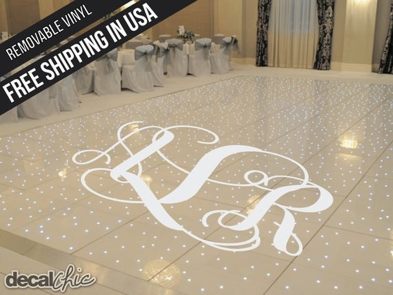 Custom Monogram Bride And Groom Wedding Dance Floor Decal