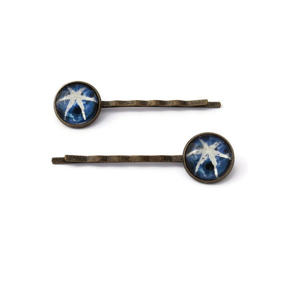 Set of Two Vintage Star Sapphire Postage Stamp Bobby Pins, Stamp Hair Pins, Gift for Her, Brass Bobby Pins, Antique Style Pins, Blue, Favors