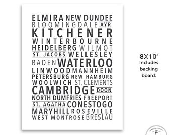 "Region of Waterloo Wall Art, Areas of Waterloo, Ontario, Original Townships in Waterloo, Southern Ontario, 8x10"" Wall Art"