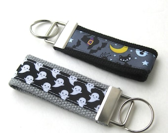 Halloween Key Fob- Halloween Key Chain- Halloween Gift- Wristlet Key Fob- Wrist Keychain- Key Lanyard- Gift for Her- Womens Gift Under Ten