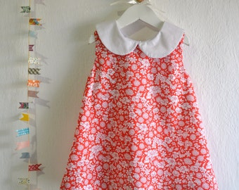 Floral Peter Pan Collar Dress - Spring and Summer Toddler Dress - Dress for little girls - size 2T