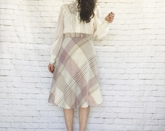 Vintage 70s Flared Wool Plaid Skirt Mauve Gray Cream Knee Length High Waist S