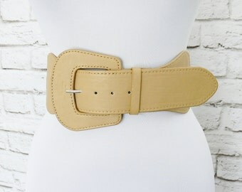 "Vintage 80s Tan Wide Elastic Belt Oversized Buckle Faux Leather L XL 31"" 32"" 33"" 34"" 35"" 36"""