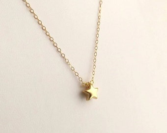 Tiny Gold Star Necklace in Gold. Star Necklace. Gold Star Charm. Simple Gold Necklace.Bridesmaid Gift.Wedding. Delicate.Dainty.Minimalist.