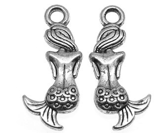 Antique Silver Mermaid Charms / Silver Double-Sided Mermaid Pendants [Choose 1 piece or 10 pieces] -- Lead & Nickel Free Findings 23830.J2L