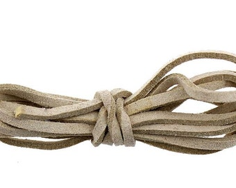 Faux Suede Cord :  20 feet Light Coffee 3 x1.5mm Lace Cord | Flat Faux Leather Bracelet Cord | Beige Suede Cording 74946.F1