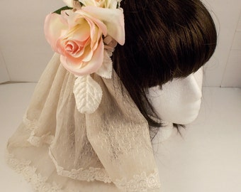Ivory and Pink Veil Hair Accessory